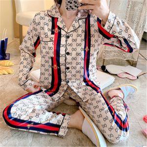 Sexy Silk Lovers Pajama Sets Spring Summer New Ice Silk Flower Printed Sleepwear Male Female Couple Short-Sleeve Pyjama For Men Women 110#474