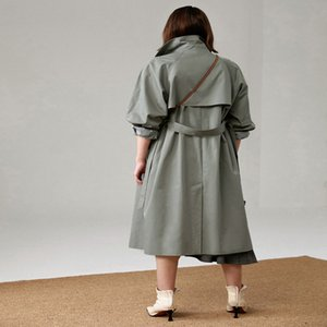 UK Brand new Fashion Fall  Autumn Casual Double breasted Simple Classic Long Trench coat with belt Chic Female windbreaker 200917