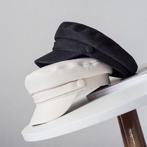 JIN-Swhbias Boinas por Mulheres Algodão Linho capacitores sólidos Hat Outono octogonal Newsboy Verão Branco Preto Feminino Moda Caps