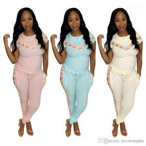 Woman Summer для Slim костюма женщины 2pcs конструктора Confortable Одежда Комплекты Мода Спортивных костюмы Повседневного Sequins панели