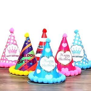 Princesa príncipe del cumpleaños sombrero de papel fiesta de cumpleaños azul de la corona rosada Sombrero 19 * 15cm partido de los niños del traje de papel Cap HHA1322