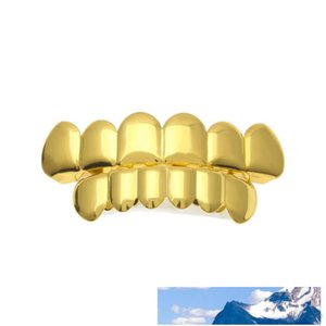 New Custom Fit Gold Plated Hip Hop Rock Teeth Grillz Caps Top & Bottom Grill Set For Christmas Party Vampire Teeth