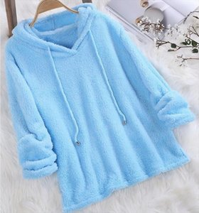 Plus Size Autumn Winter Women Long Sleeve Hooded Blue Pink White Plush Fluffy Hoodies Fleece Pullover Pajama Loose Hoodie Top