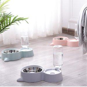 1 Adet Çift Bağlantı Köpek Kedi Evcil Otomatik Su Sebili Besleyici Bowl Kaplar Pet Su Feeder Bowl Dropshipping Y200917 İçme