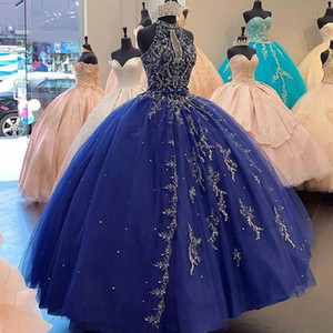 Sweet Shinning Dark Blue Quinceanera Prom Dresses Crew Neck Sleeveless Appliques Beaded 16 Sweet Party Gowns vestidos de 15 años