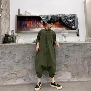 Шея Rompers Мужской Streetwear Комбинезоны мужские Сыпучие Сплошной цвет комбинезона Сыпучие Половина рукава Crew