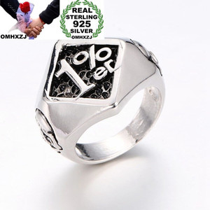 OMHXZJ Wholesale European Fashion Man Party Wedding Gift 1% Square Black 925 Sterling Silver 18KT Yellow Gold Ring RR391