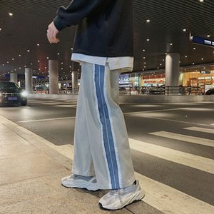 2020 Autumn Young Men's Straight Tube Sagging Loose Korean Fashion Splicing Sports Wide Leg Casual Pants Size M-3XL