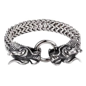 Double Dragon Head Men Bracelet for Men Friendship Mens Bracelets for Punk Rock Male Jewelry