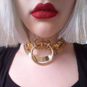 Großer Verkauf Harajuku 100% Handmade Sexy Klare O-runde Kragen-Punkrock-Gothic-Halskette Gürtel Momente Goldfarbe geben Verschiffen frei
