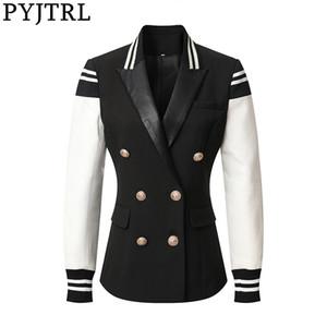 Moda Casual Leather Patchwork Abotoamento Jacket Jacket elegante clássico Varsity de PYJTRL New Mulheres