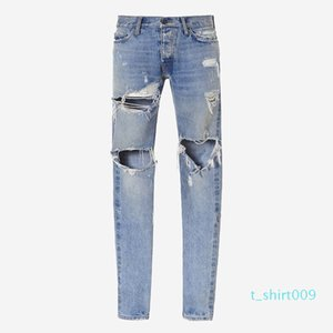 18ss Fear of God Denim Pants FOG Ripped Jeans Print Mens Jeans Fashion Skinny Pants Zipper Fly Trousers Letters Casual Jeans HFTTKZ096 t09