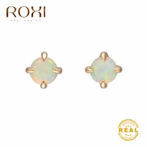 ROXI Маленький круглый белый огненный опал серьги стержня для женщин голдфилд Cute Корейский серьги 2020 Мода ювелирные изделия Свадебные серьги