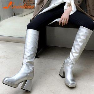 Stiefel Karin 2021 Design Große Größe 43 Echtes Leder High Heels Mode Frau Schuhe Slip auf Plattform Frühling