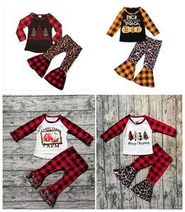 Baby Girl Clothes Halloween Christmas print Tops Leopard Pants 2pcs Sets Toddler Flared Pants Suits Designer Children Outfits Boutique set