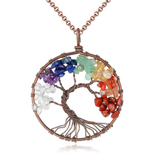 Woman Natural Crystal Gravel Tree Of Life Pendant Gold Color Necklace Girls Love Sweet Fashion And Interesting Accessories
