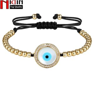 Luxury Natural Seashells Eyes Gold Color Chain Link Bracelet for Women Ladies Shining Cubic Zircon Charm Jewelry Adjust Size