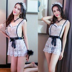 i01zw largo del cordón atractivo de la ropa interior de la noche delantal nueva ropa interior del cordón delantal de enfermera de limpieza de limpieza traje