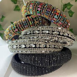 Dvacaman lujo cristalino brillante del Rhinestone del diamante grueso acolchado con cuentas diadema encanto de las mujeres de cristal colorido Hairband accesorio del pelo