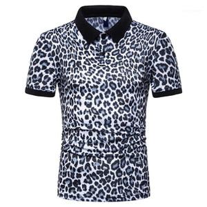 Casual Male Polo Shirt Fashion T-shirts manches courtes Tops 2020 hommes Leopard Polos été Designer
