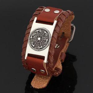 eslava cuero hacha pulsera amuleto de tamaño ajustable 19-26 cm