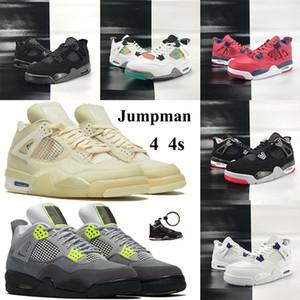Jumpman 4 4s xwhite Basketball-Schuh weiß xsail metallic lila SE Neon Männer Turnschuhe mit Keychain schwarzer Katze 2020 rasta FK-Volt-Trainer