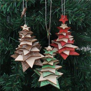 Bois d'arbre de Noël Pendentif étoile à cinq branches Snowflake cordes Arbre de Noël Ornement d'arbre de Noël Rouge Vert Bois Décoration GWE1699