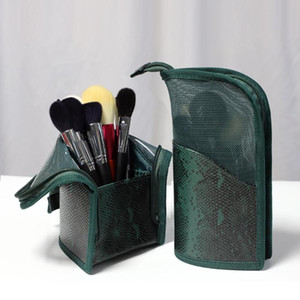 Makeup Cosmetic Bag Green PU Portable Storage Bags Make Up Brush Cup Holder Organizer Bag For Travel Brush Cosmetics Bags Pouch