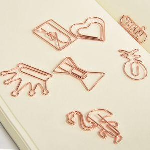 Clip di carta in metallo creativo clip in oro rosa corona fenicottero graffette clip bookmark promemoria clip clip scuola ufficio forniture di cancelleria