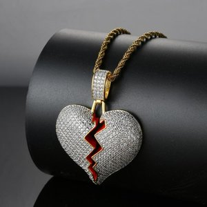Hip hop necklace copper micro-zircon heart-shaped pendant necklace jewelry for couple gift