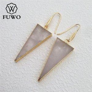 FUWO naturel cristal de quartz Boucles d'oreilles triangle d'or avec plaquent élégant Minimaliste cristal Dangle Boucles d'oreilles Bijoux ER001