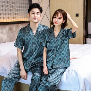 Couple Pajamas Long-Sleeved Spring Thin Section Silk Home Service Suit Womens And Man Sexy Pajamas Two-Piece Flower Printed Sleepwear#135