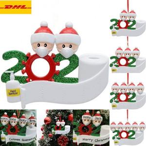 DHL Livraison Rapide 2020 Vente chaude quarantaine Décoration de Noël personnalisé famille de 4 personnes en cas de pandémie Ornement avec masques de visage main Sanitized
