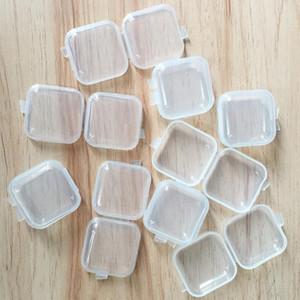 Plaza vacía caja de la caja de plástico transparente de almacenamiento Mini recipientes con tapas pequeña caja de joyería Caja de almacenamiento tapones para los oídos HHA1594