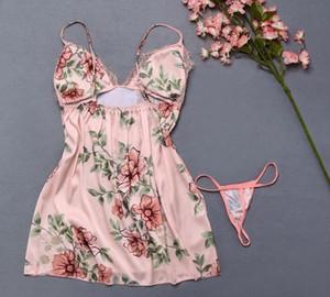 Sexy Flower Lace Sleepwear Lingerie Temptation Underwear Jumpsuit Sleeveless Vneck Women Lace sleepwear99