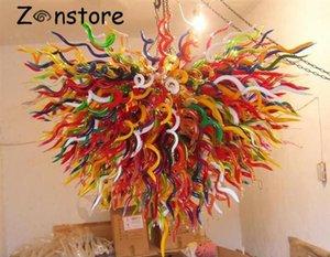 Party Decor Art Festival pendentif en verre Lampes LED multicolore lumières en verre soufflé à la bouche Chadnelier éclairage