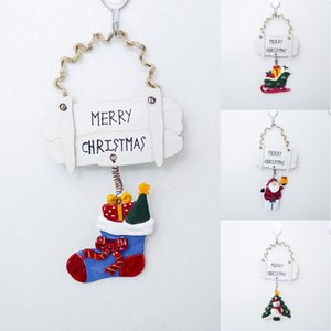 Christmas Ornaments Wood Tree Decorations Wooden Hanging Crafts Santa Claus Snowman Ornaments Gift Tags Decor Red Green 4 Styles OWD1714