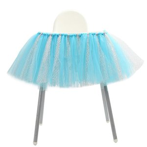 Tulle Table Skirts with Hook & Loop Elastic High Chair Decoration for Baby Shower Birthday Party Supplies 2020 new