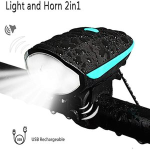 Bicycle Front Light and Horns 2 in 1 Design Rechargeable Bicycle Bell Lights Waterproof Bike Cycling Lamp 2 Modes Sound Siren