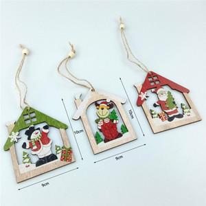 Ornament aus Holz Weihnachtsbaum Kleine Anhänger aus Holz Weihnachtsmann Haus Runde Elk-Anhänger Geschenk 9 Arten