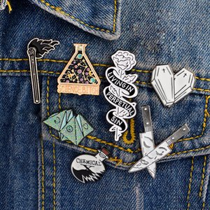 Enamel Pin Origami game Heart coffin Science chemical Cobweb Matches Rose Knife Brooch and Pin Cartoon Lapel Pin Button Badges T200915