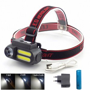 3 Led XPE COB USB Rechargeable Headlamp Headlight 18650 Frontal Head Lamp Torch Light For Fishing Camping Powerful 0Tbo#