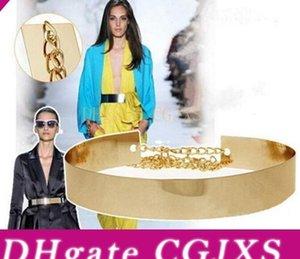 1pc Women &#039 ;S Elegant Belt Cummerbund Girl Metal Golden Mirror Plate Thin Belt With Chains Wide Dress Waistband Band
