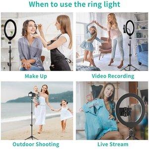 26cm LED Selfie-Ring-Licht-Kreis Fill Fotografie Helle Ringlight Dimmbare Lampe Trepied Desktop Phone Mini Ständer Halter Stativ