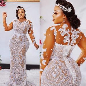 Moda Plus Size sirena Pizzo Abiti da sposa pura Bateau Collo maniche lunghe in rilievo Abiti da sposa sweep treno robe de mariée