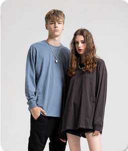 Be men wear   2020 autumn versatile solid color base shirt mens and womens oversize high street fashion brand long sleeve T-shirt