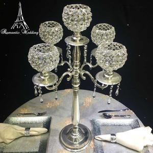 Kristal Boncuk Masa Mumluk Centerpieces Dekorasyon Ev Dekor ile 10pcs / paket Düğün Altın veya Gümüş Metal Mumluk