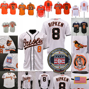 Cal Ripken Jersey Eddie Murray Brooks Robinson 2001 Baseball Hall of Fame Patch Naranja Negro Blanco Blanco Botón Tamaño STTICHED M-3XL