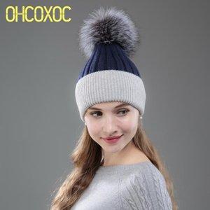 OHCOXOC Nouveau Femmes Fur Real Beanies réel pompons Chapeau de boule de maintien au chaud Beanies Skullies Patchwork Automne Hiver Hat