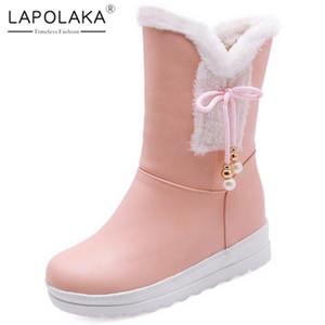Lapolaka New Arrivals Large Size 30-42 Sweet Bowtie Shoes Woman Boots Add Fur Increasing Heels Platform Winter Boots Women